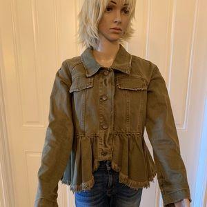 Free People Willow Denim Military Jacket Sz XS